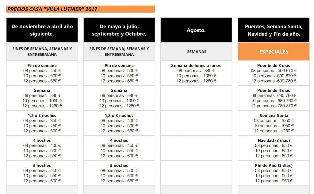 """Lista de precios de """"Villa Luthier"""" – Casa rural & eventos \"""